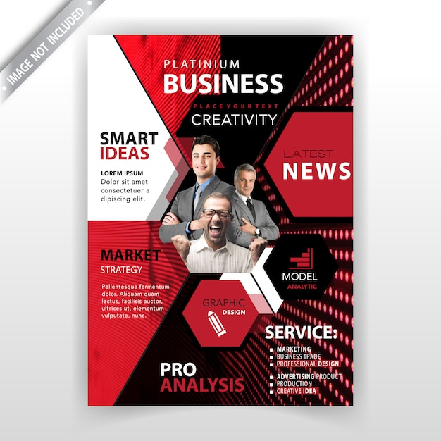red polygonal magazine template vector free download