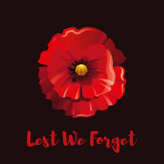 Red Poppy Flower For Remembrance Day Premium Vector