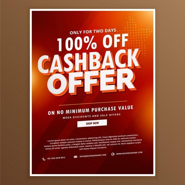 Pubblicità cashback promozionale modello di offerta di progettazione Vettore gratuito