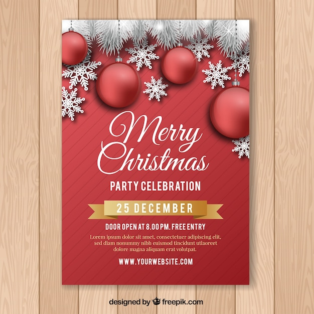 Christmas flyer vectors photos and psd files free download red poster for christmas celebration pronofoot35fo Image collections