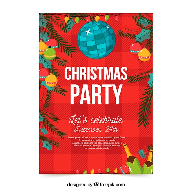 Red poster of a christmas party