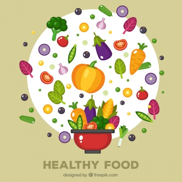 Red pot with different healthy foods Free Vector