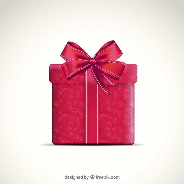 red present box with ribbon vector free download