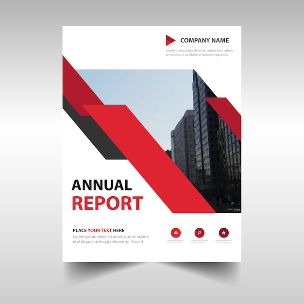 red professional annual report template vector