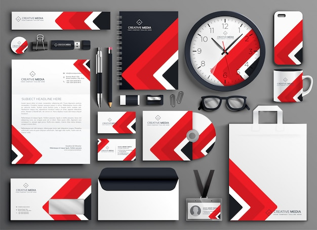 red professional business branding stationery set vector free download