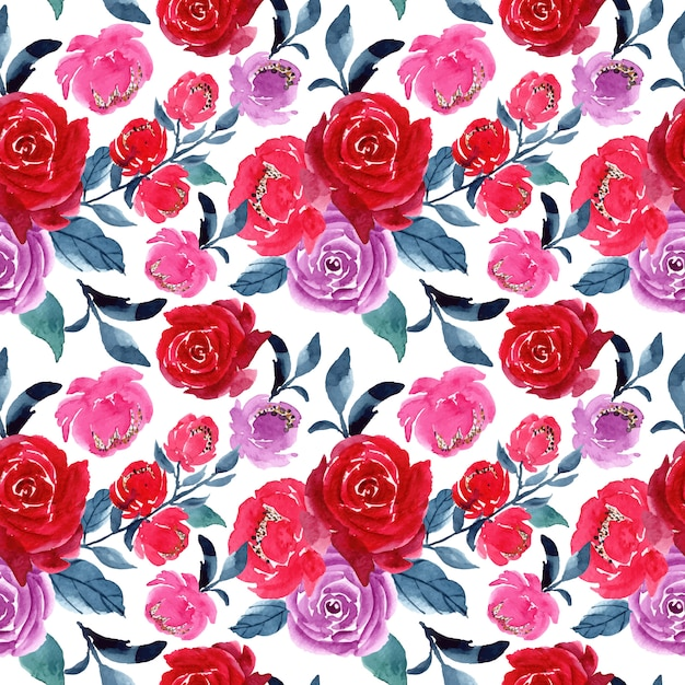 Red purple watercolor floral seamless pattern Premium Vector