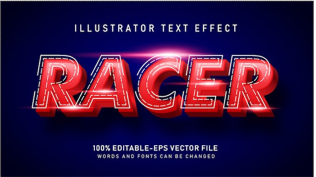 Red racer  text style effect Free Vector