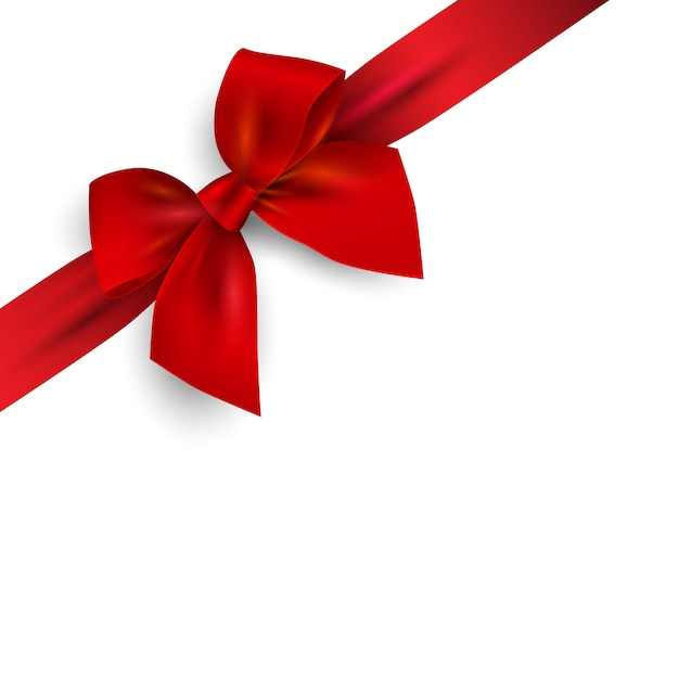 Red realistic bow with ribbon isolated on angle Premium Vector