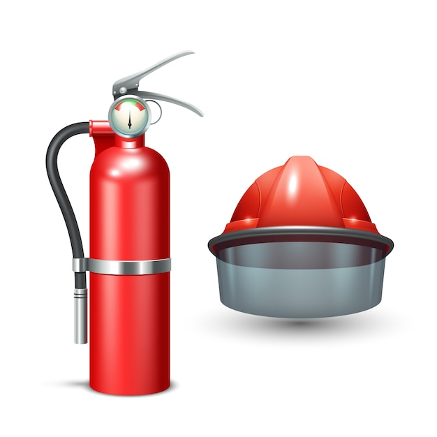 Red realistic firefighter helmet and fire extinguisher Free Vector