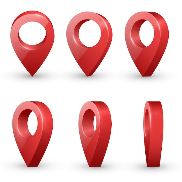 Red  realistic map pointers Premium Vector
