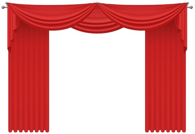 Красные реалистичные шелковые шторы, драпировка изолированные Premium векторы