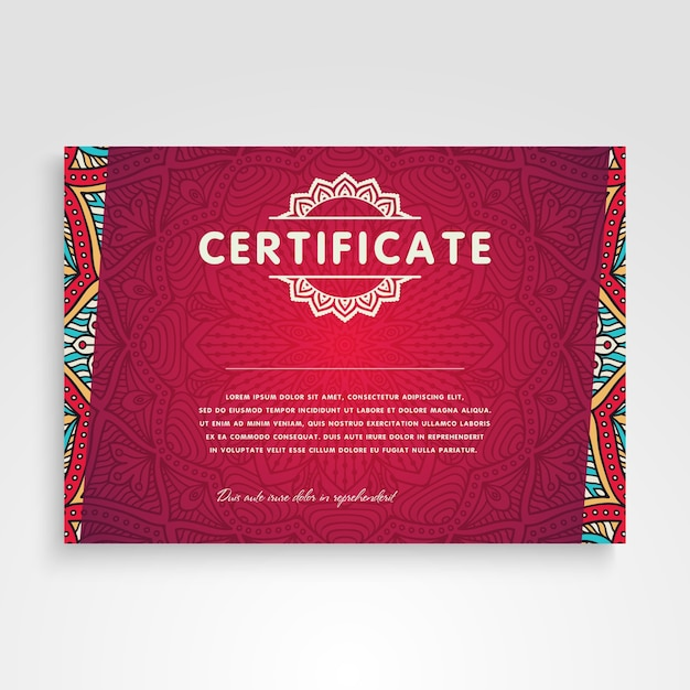 Red retro ethnic certificate template Free Vector