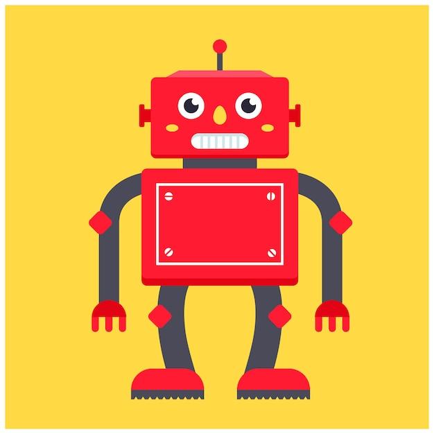 Red retro robot. character vector illustration Premium Vector