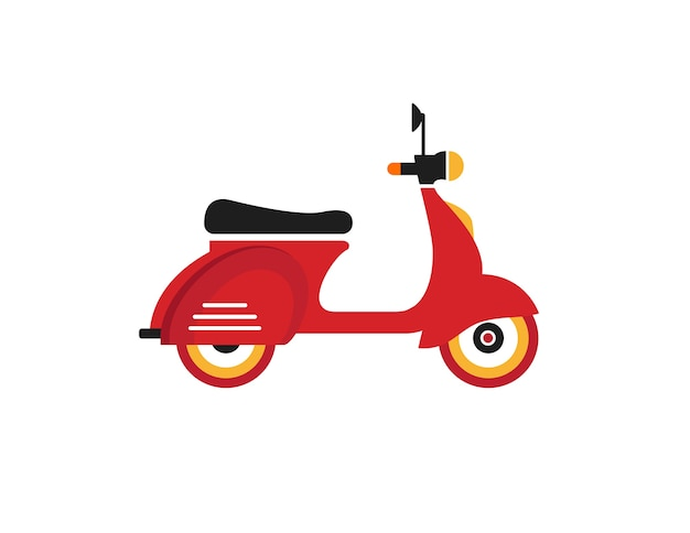 Red retro vintage delivery motor bike icon isolated on white background Premium Vector