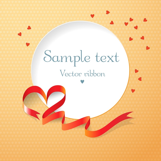 Красная лента и круглое текстовое поле с сердечками плоские векторные иллюстрации Бесплатные векторы