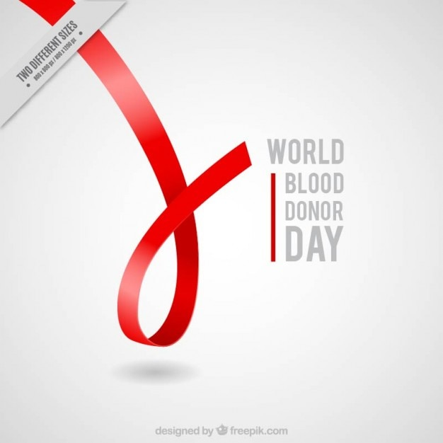 Red ribbon blood donor day background Premium Vector