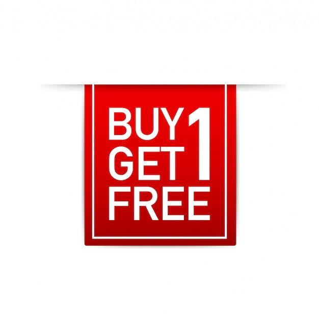 赤いリボン1個購入1個無料、セールタグ、バナーデザインテンプレート。図。 Premiumベクター
