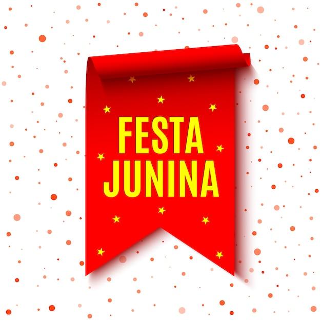 赤いリボン。ブラジルのお祭りの名前の装飾。巻物。図。 「フェスタジュニーナ」-6月祭。 Premiumベクター