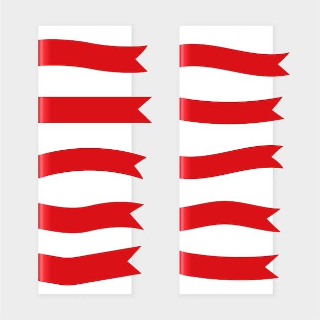 Набор флагов красной лентой из десяти Бесплатные векторы