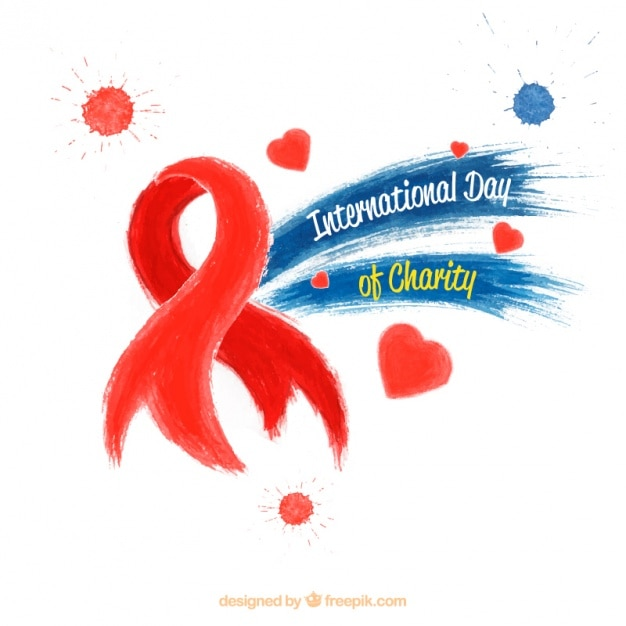 red ribbon for the international day of charity vector