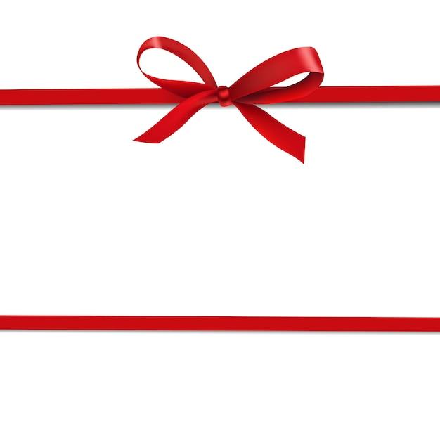 Красная лента изолировать на белом Premium векторы