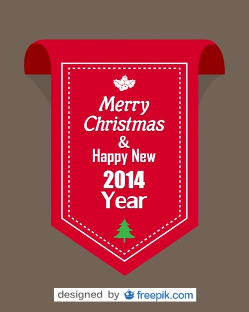 Red ribbon with merry christmas and happy new year 2014 text Free Vector