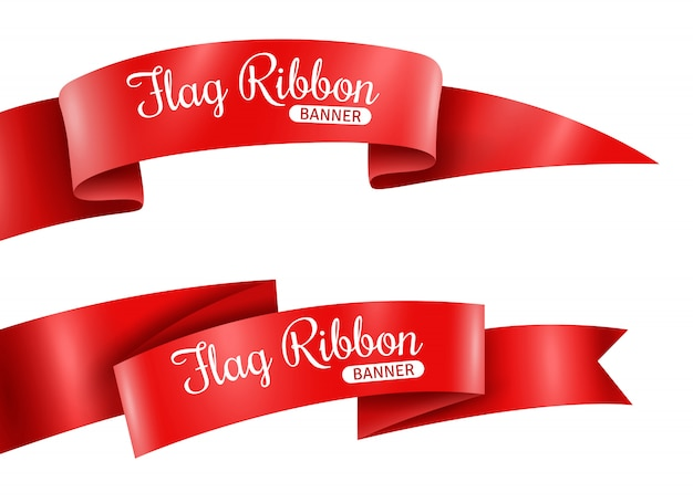 Red ribbons banners set Free Vector
