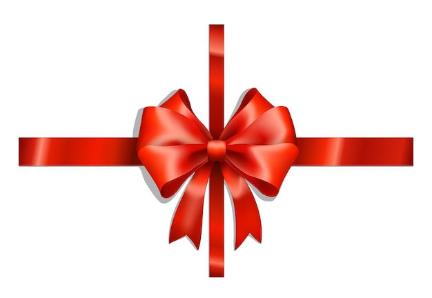 Red ribbons and big bow on white Free Vector