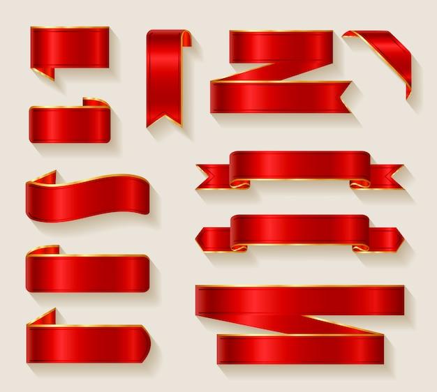 Коллекция красных лент Бесплатные векторы