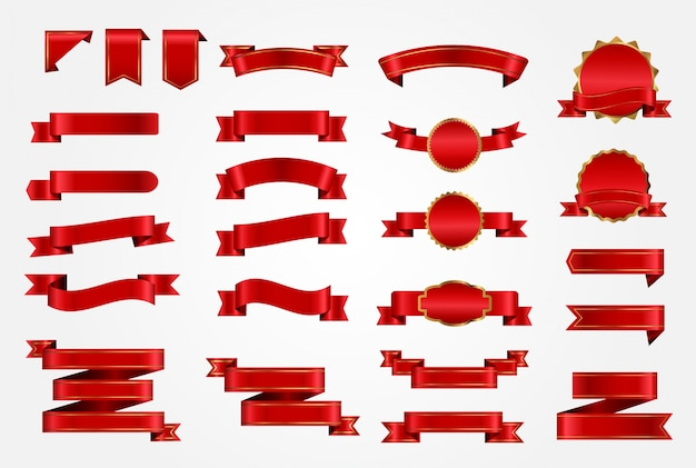 Red ribbons collection Free Vector