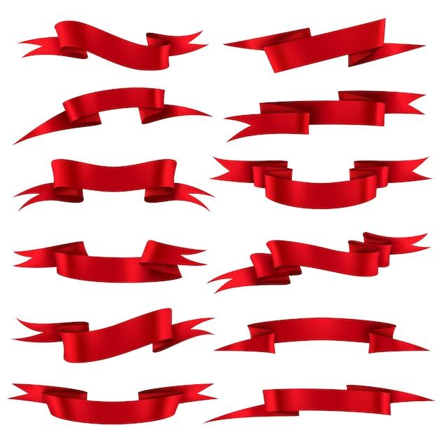 레드 리본. 할인 제공 및 선물 현실적인 복고풍 세트 판매 템플릿 샤인 컬링 요소에 대한 스칼렛 실크 장식 곡선 배너 프리미엄 벡터