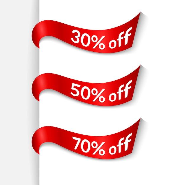 分離した白い背景の上にテキスト30%50%70%オフの赤いリボン Premiumベクター