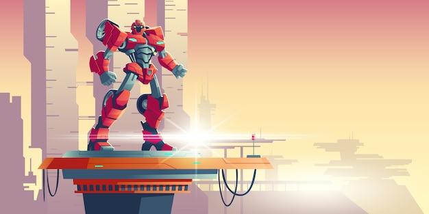 Red robot transformer alien invader on spaceship Free Vector
