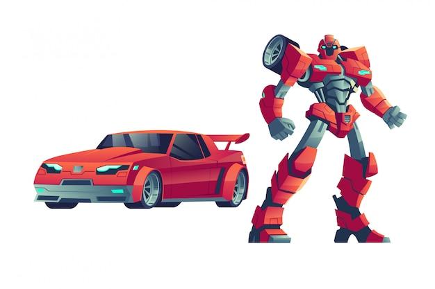 Красный робот-трансформер и автомобиль, иллюстрация шаржа Бесплатные векторы