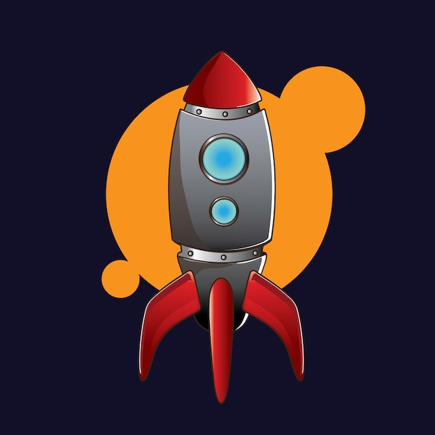 Red rocket that will head to the moon Premium Vector