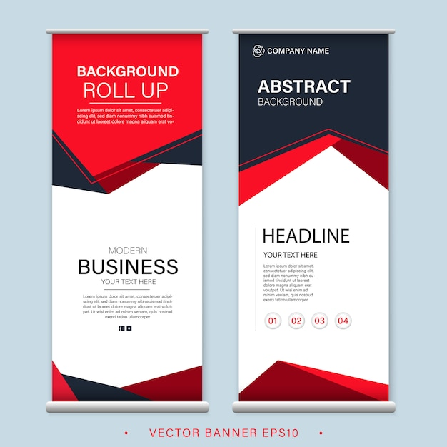 Red roll up business banner design vertical template advertising presentation abstract Premium Vector
