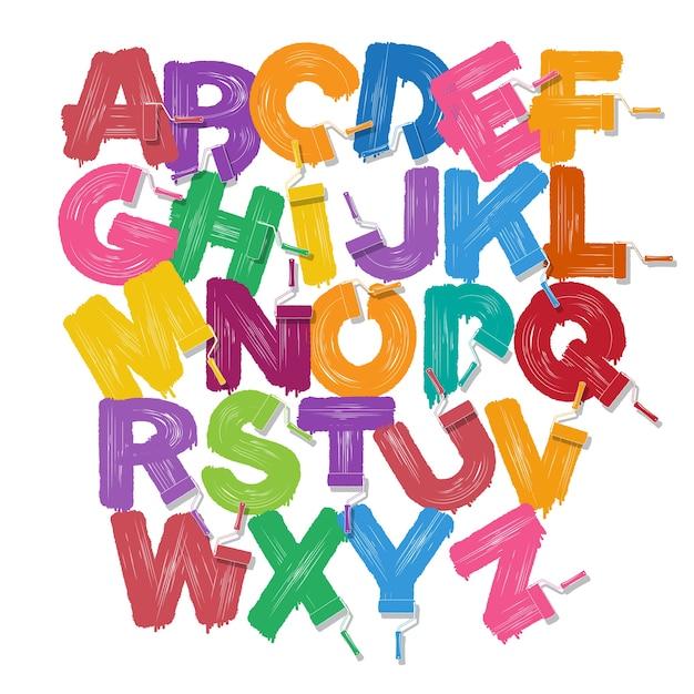 Red roller brush alphabet font set Premium Vector