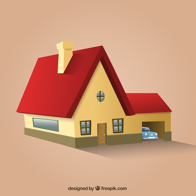Red roof house in perspective Free Vector