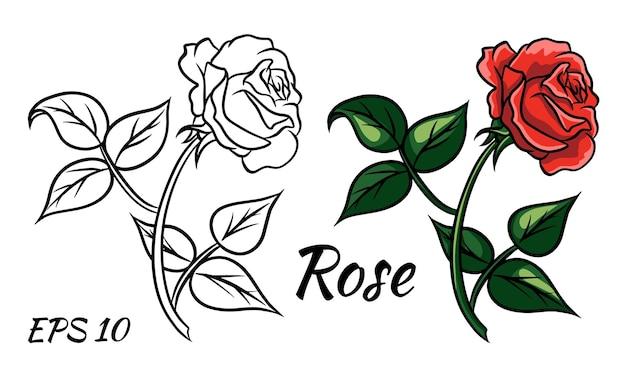 흰색 바탕에 빨간 장미 만화 스타일입니다. 줄기에 붉은 장미 프리미엄 벡터