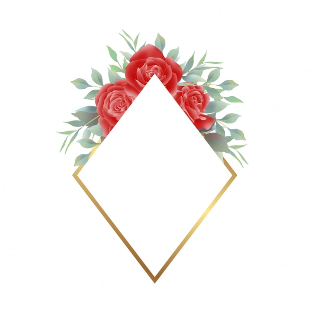 Red rose frame with gold decoration Premium Vector
