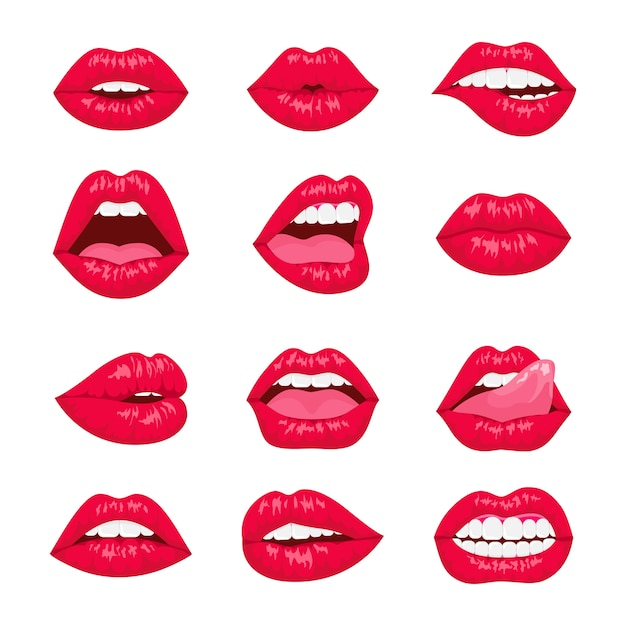 Red and rose kissing and smiling cartoon lips  decorative icons. sexy woman lips with different emotions. Premium Vector