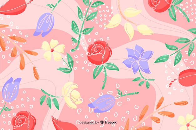 Red roses hand drawn abstract floral background Free Vector