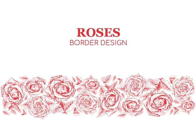 Red roses seamless border design Free Vector