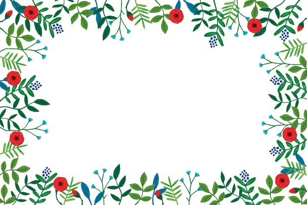 Red roses with leaves background Free Vector
