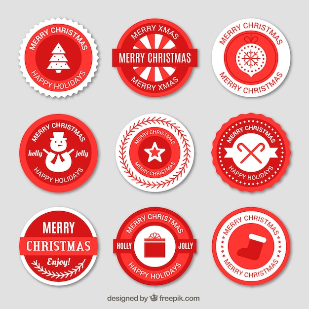 Red round christmas stickers free vector