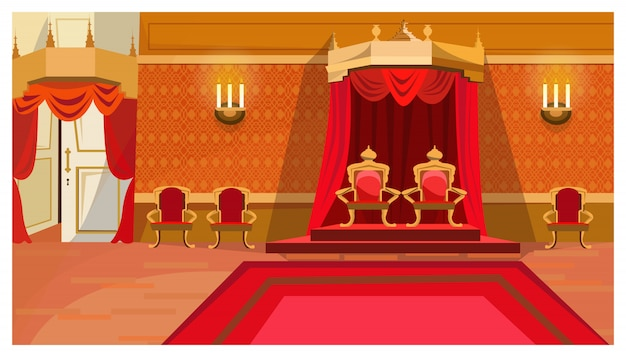 Red royal thrones in palace illustration Free Vector