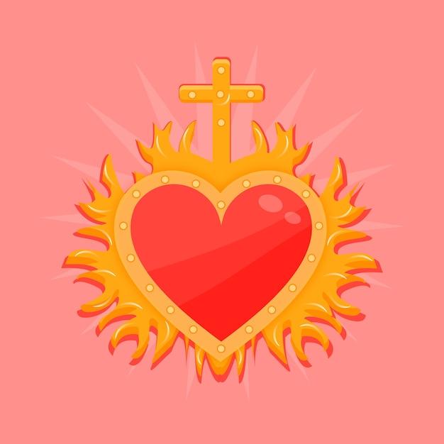 赤い聖心のコンセプト 無料ベクター