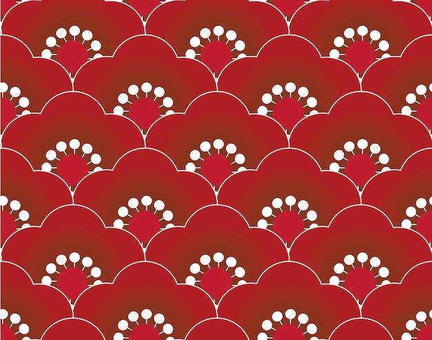 Red sakura seamless pattern Premium Vector