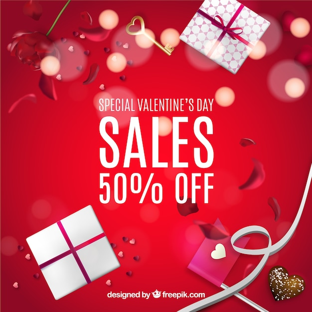 red sale background with valentine gifts free vector