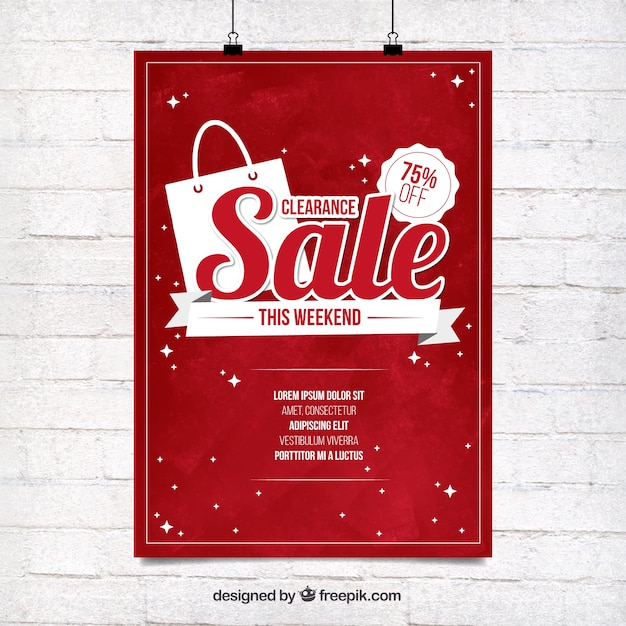 Marvelous Red Sale Poster Template Free Vector In For Sale Poster Template